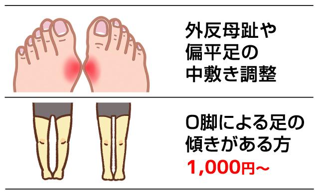 外反母趾、O脚のお悩みは専門のシューズタケダへ